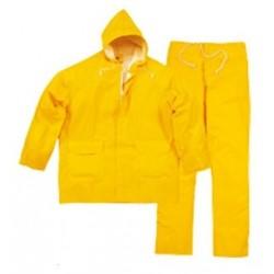 Ensemble de pluie PVC (veste + pantalon) Jaune