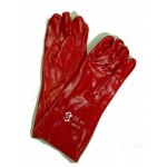 Gants de manutention PVC Rouge manchette 35cm