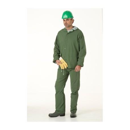 Ensemble de pluie (veste + pantalon) PVC vert