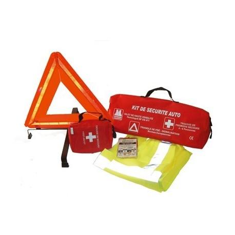 Kit de sécurité pour véhicule (comprenant gilet, trousse à pharmacie et triangle)