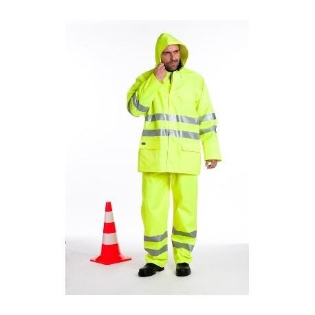 Ensemble de pluie veste et pantalon haute visibilité PVC