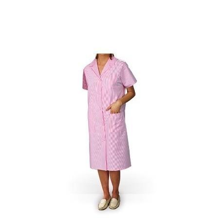 Blouse de travail femme MADONA manches courtes rayé rose pâle