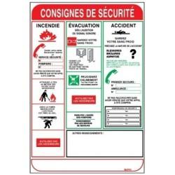 """PANNEAU PVC """"CONSIGNES DE SECURITE"""" : 450X300MM"""