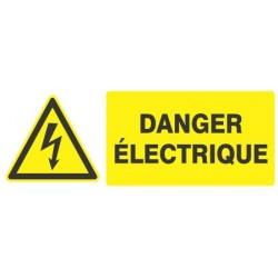 """PANNEAU PVC """"DANGER ELECTRIQUE"""" - 330X120mm"""