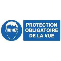 """PANNEAU PVC """"PROTECTION OBLIGATOIRE VUE"""" - 330X120mm"""