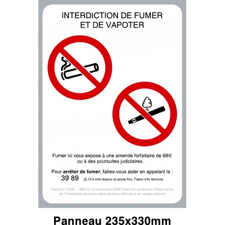 affiche interdiction de fumer et de vapoter