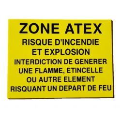 """PANNEAU  PVC ADHES """"ZONE ATEX"""" Risque dincendie et explosion"""""""