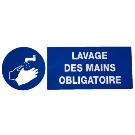 """PANNEAU PVC """"OBLIGATION DE SE LAVER MAINS"""" - 330X120mm"""
