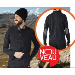 PULL TRAVAIL COL MONTANT GRIS 100% COTON PULS - MOLINEL